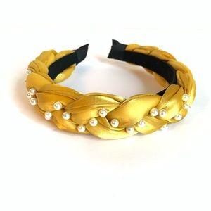 Yellow Braided Padded Headband with Pearls